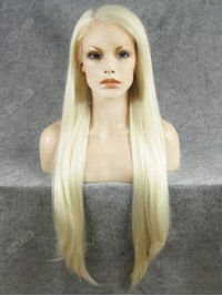 Long Straight Blonde Synthetic Lace Front Wig