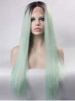 Preorder - Kylie Jenner Inspired Pastel Blue Ombre Long Straight Synthetic Lace Front Wig