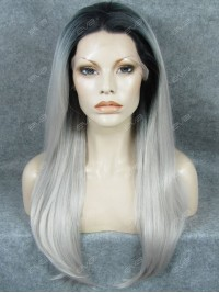 New Grey Color Long Straight Ombre Synthetic Lace Front Wig