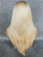Blonde Ombre Color Long Straight Synthetic Lace Front Wig