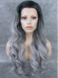 New Fashion Dark Grey Color Ombre Long Wavy Synthetic Lace Front Wig