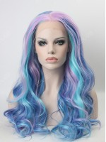 Beautiful Pastel Mixed Color Wavy Long Synthetic Lace Front Wig