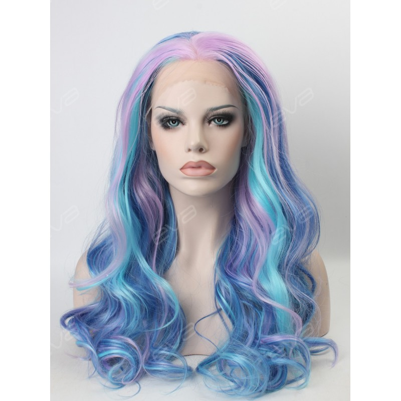 Beautiful Pastel Mixed Color Wavy Long Synthetic Lace