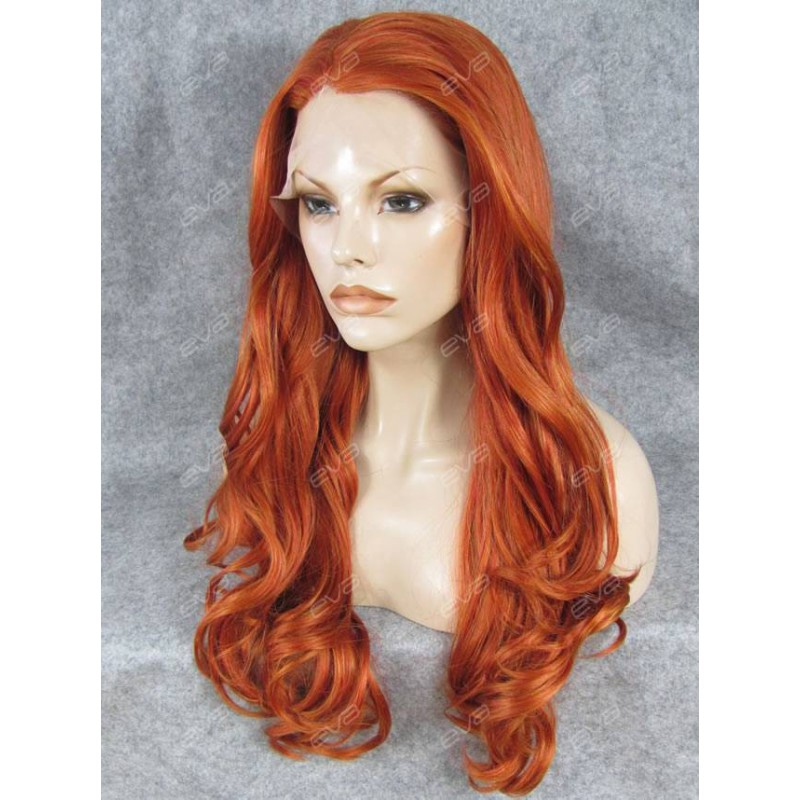 Pumpkin Orange Long Wavy Synthetic Lace Front Wig