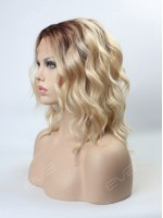Blonde Ombre Color Medium Length Wavy Bob Synthetic Lace Front Wig
