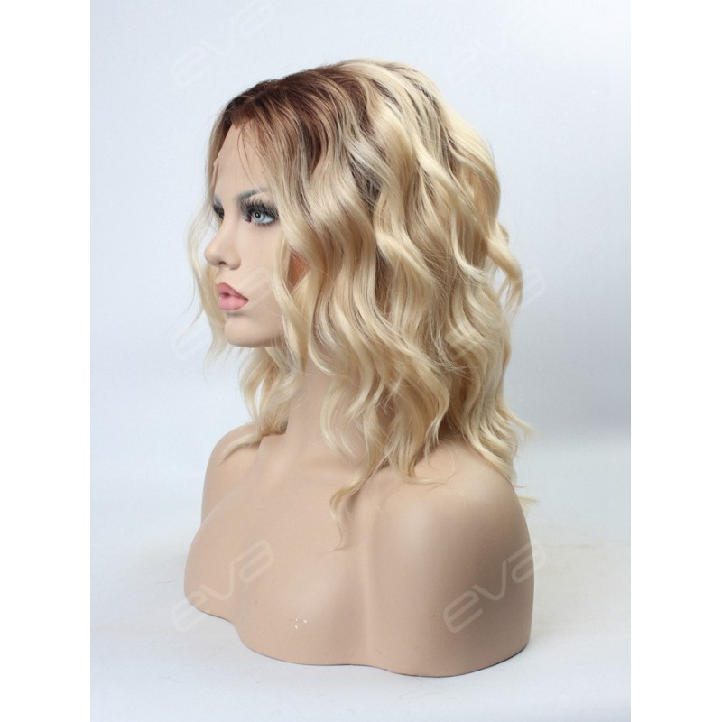 Blonde Ombre Color Medium Length Wavy Bob Synthetic Lace
