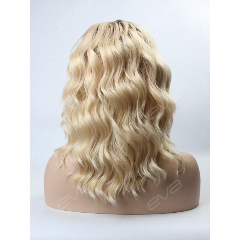 Blonde Ombre Color Medium Length Wavy Bob Synthetic Lace