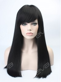 Classic Black Long Straight Sleek Synthetic Wefted Cap Wig with Full Blunt Bangs