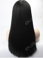 Yaki Long Straight Sleek Synthetic Lace Front Wig with Full Blunt Bangs