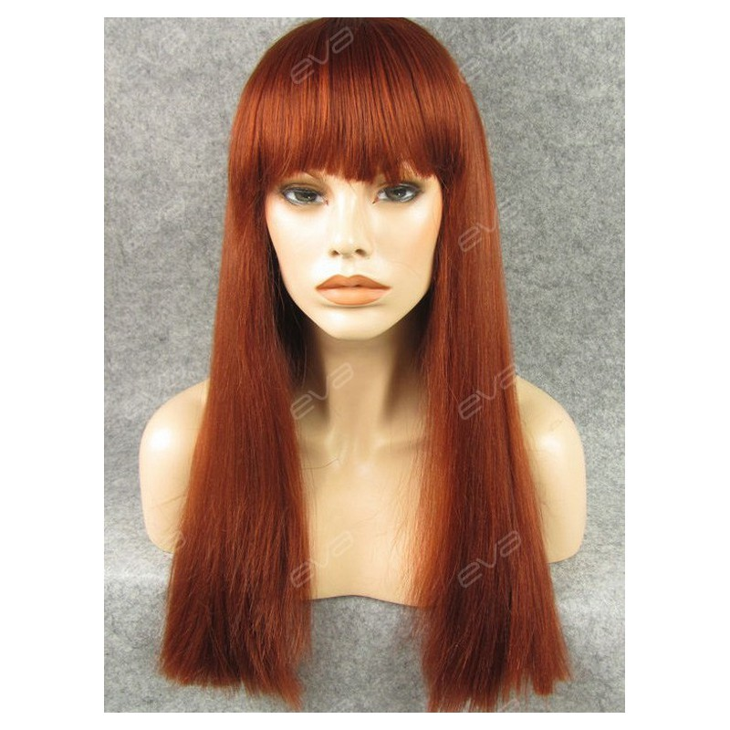 Reddish Brown Ginger Cute Bangs Style Synthetic Wefted
