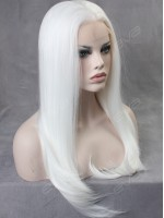 White Straight Long Synthetic Lace Front Wig