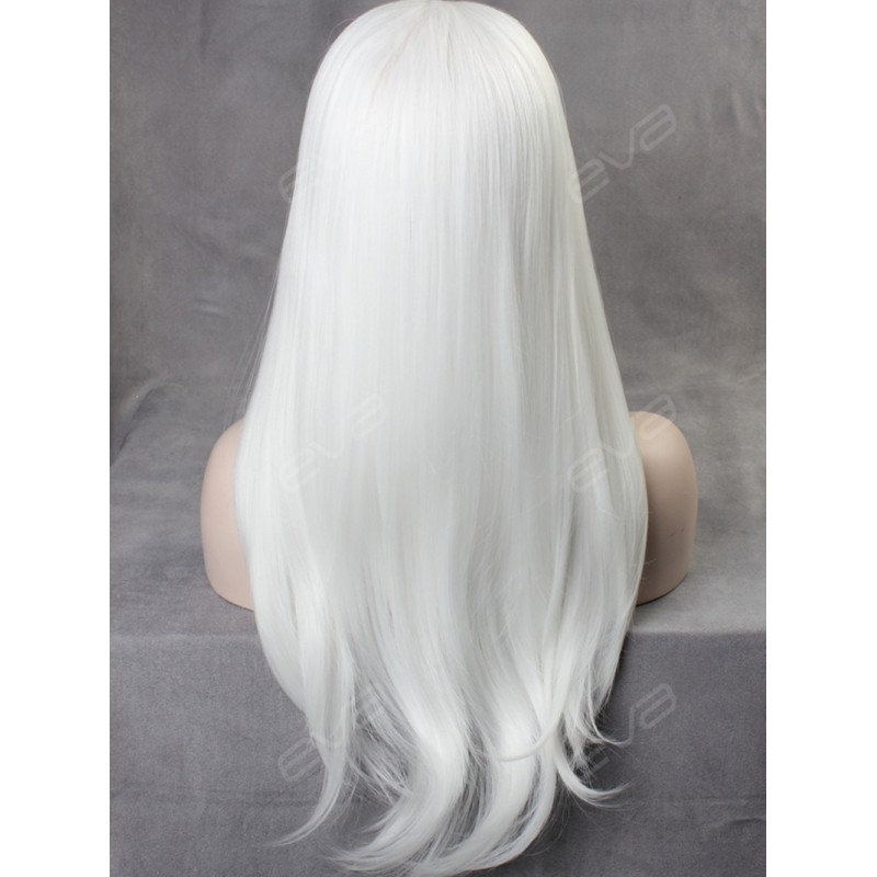 White Straight Long Synthetic Lace Front Wig Synthetic