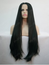 "30"" Long Kimk Inpired Black Yaki Straight Synthetic Lace Front Wig"