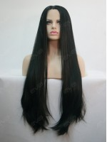 "30"" Long Black Straight Synthetic Lace Front Wig"