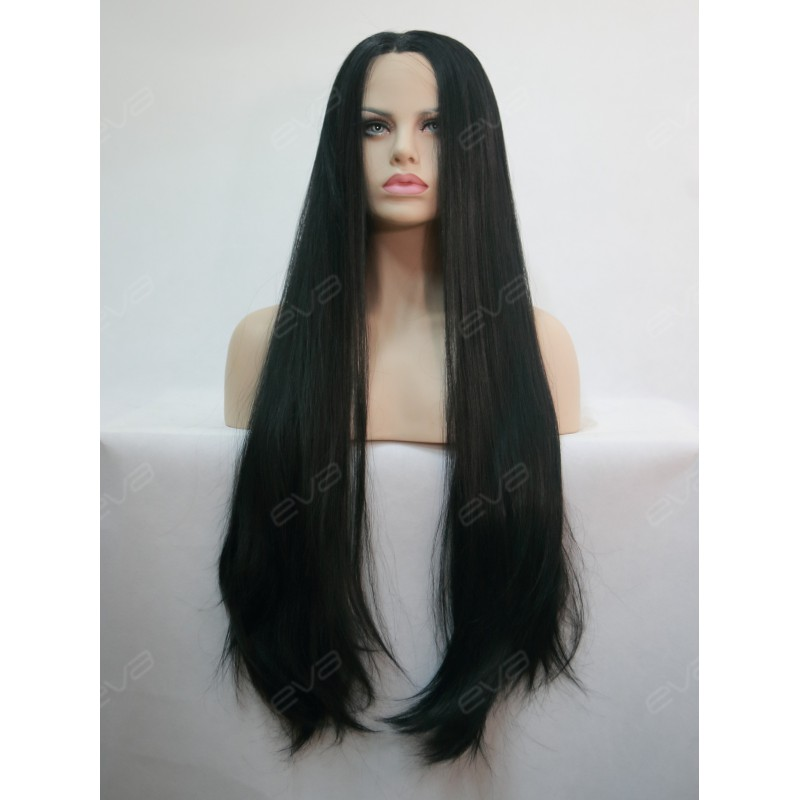 "30"" Long Kimk Inpired Black Yaki Straight Synthetic Lace ..."