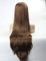Natural Ash Brown Color Super Long Synthetic Lace Front Wig