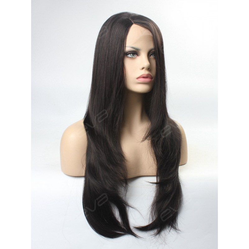 Long Straight Everyday Style Synthetic Lace Front Wig ...