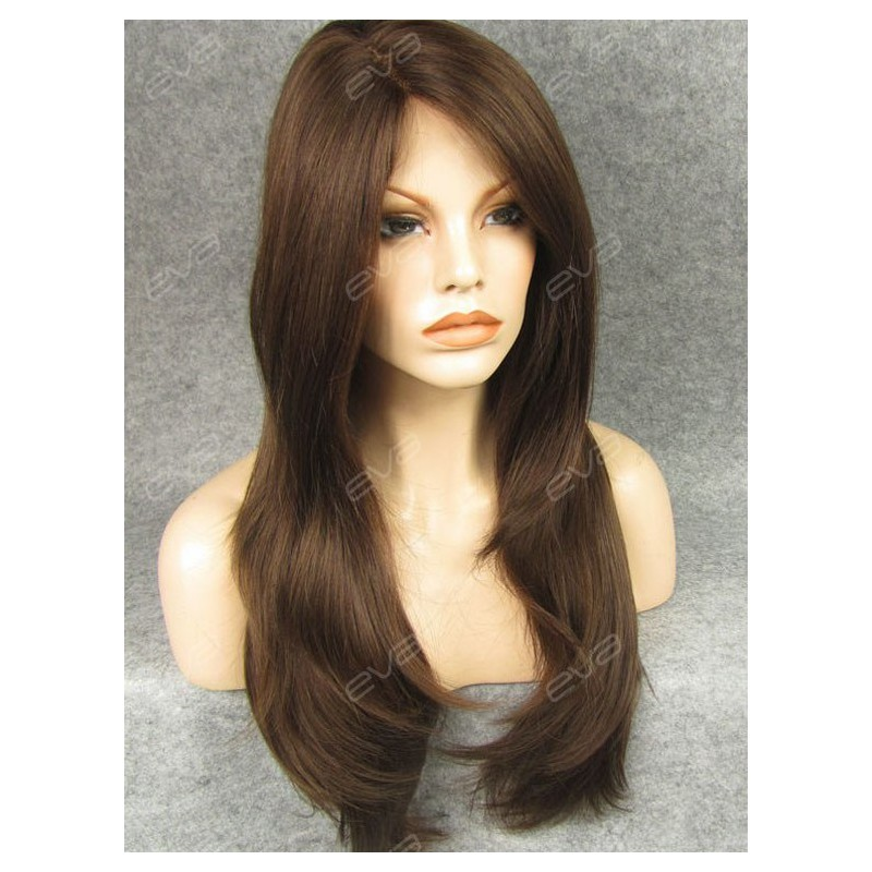 Brown Long Straight Layered Cut Casual Look Synthetic Lace