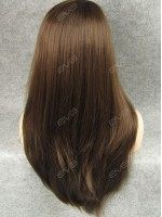 Brown Long Straight Layered Cut Casual Look Synthetic Lace Front Wig
