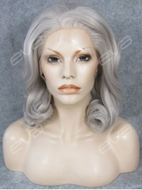 Medium Length Wavy Synthetic Wig with the Most Popular Grey Color in 2015