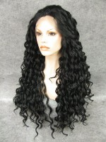 Jet Black Long Curly Synthetic Lace Front Wig