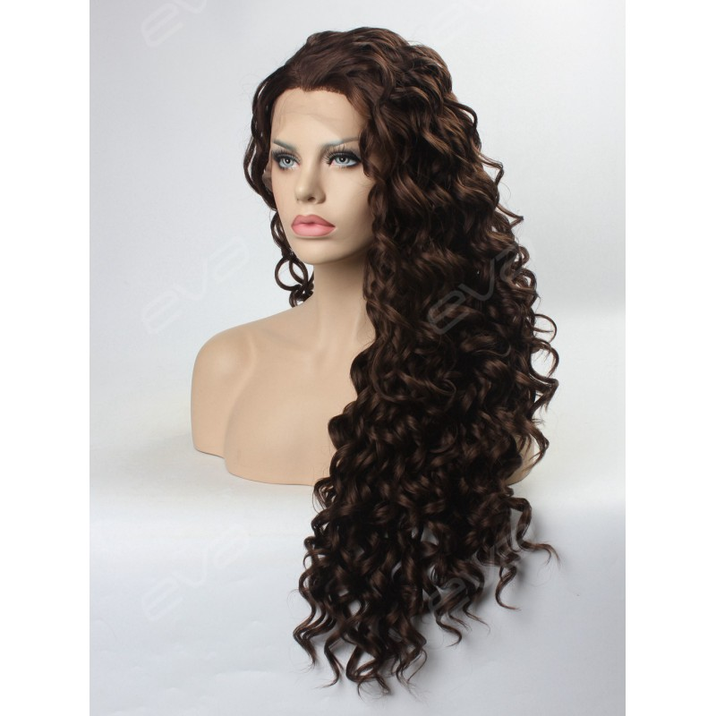 Dark Brown Long Curly Synthetic Lace Front Wig Synthetic