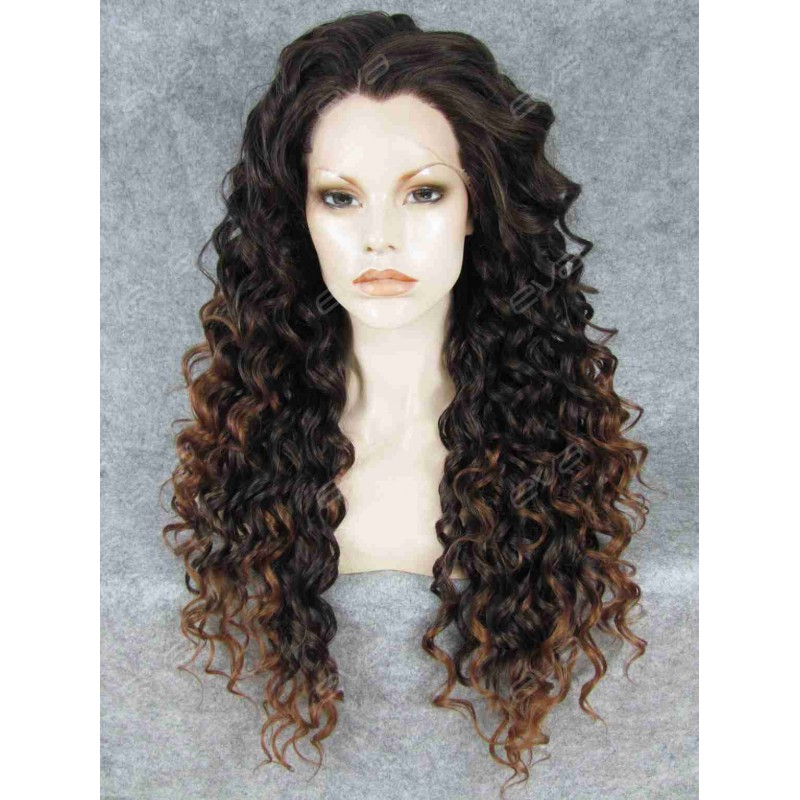 Brown Ombre Long Curly Synthetic Lace Front Wig