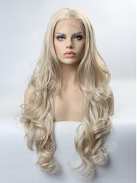 Grayish Blonde Long Wavy Synthetic Lace Front Wig