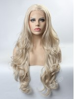 Grey Long Wavy Synthetic Lace Front Wig