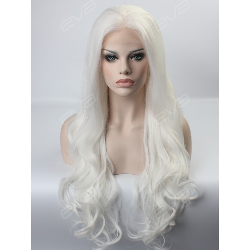 Gorgeous White Long Wavy Synthetic Lace Front Wig ...