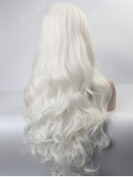 Gorgeous White Long Wavy Synthetic Lace Front Wig