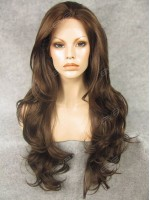 Dark Brown Synthetic Lace Front Wig with Sexy Wavy