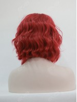 EvaHair Triangled Cut Red Wavy Bob Lace Front Synthetic Wig