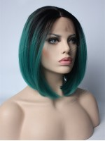 Teal Ombre Short Bob Synthetic Wig