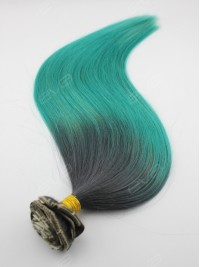 Teal Color Clip In Human Hair Extension with Grey Root Ombre Clip Ins