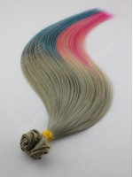 """Harley Quinn"" Inspired Hair Color Half Blue Half Pink Clip In Hair Extension"
