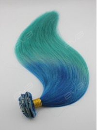 2016 Hot Color Blue to Teal Ombre Virgin Human Hair Clip In Hair Extension
