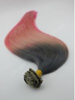 Dark Grey Root Pastel Pink Ombre Virgin Human Hair Clip In Extension