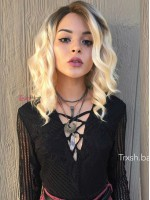 EvaHair Graduated Cut Wavy Bob Lace Front Synthetic Wig