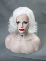 EvaHair White Wavy Bob Synthetic Lace Front Wig