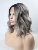 Grey Ombre Wavy Medium Length Synthetic Lace Front Wig