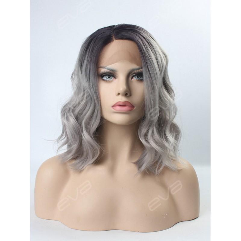EvaHair Grey Ombre Wavy Medium Length Synthetic Lace Front Wig SKU:NS ...