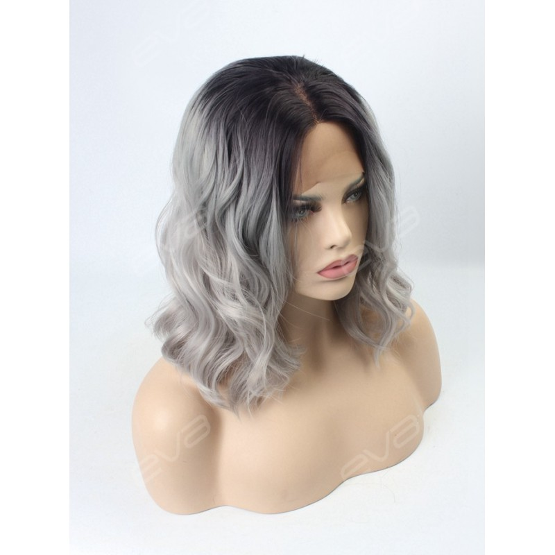 Evahair Grey Ombre Wavy Medium Length Synthetic Lace Front