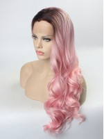 2016 Hot Instagram Color Ombre Pastel Pink Synthetic Lace Front Wig