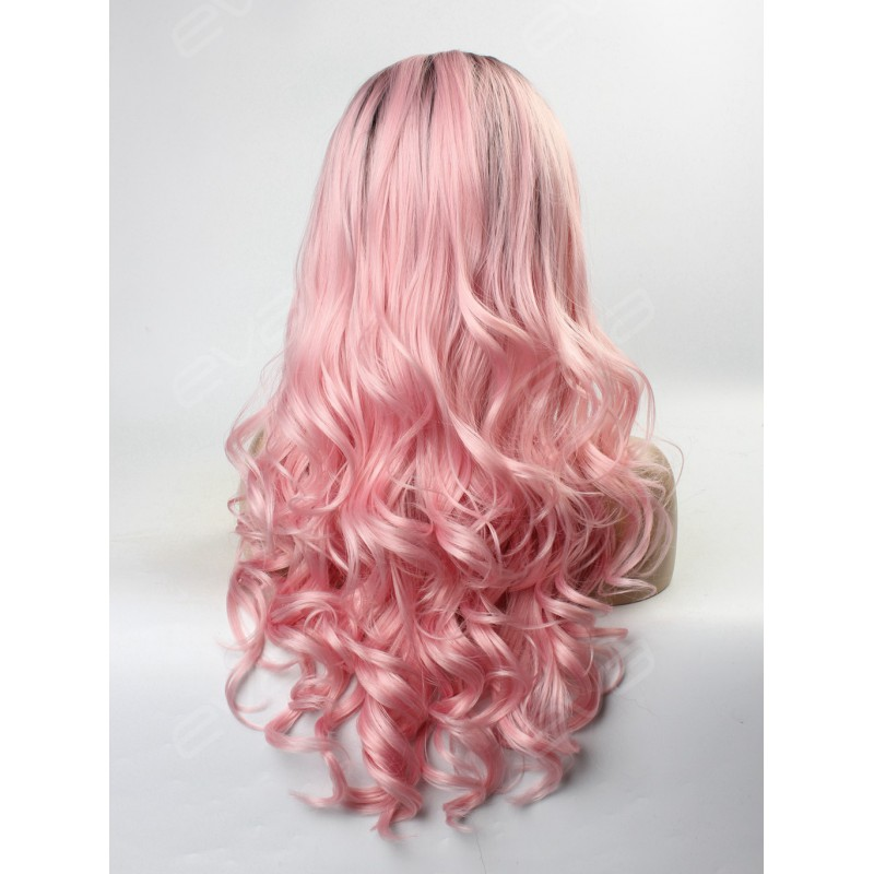 Hot Instagram Color Ombre Pastel Pink Synthetic Lace Front