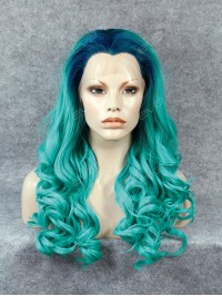 Bright Mint with Blue Root Color Synthetic Lace Front Wig