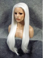 Super Long White Straight Synthetic Lace Front Wig