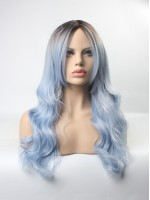 Glacier Blue Ombre Wavy Wefted Cap Synthetic Wig