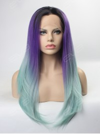 Purple to Mint 2016 New Ombre Color Synthetic Lace Front Wig