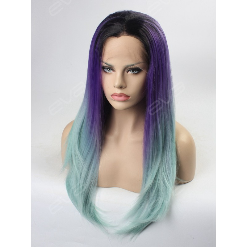 Purple To Mint 2016 New Ombre Color Synthetic Lace Front
